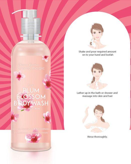 Aroma Magic 3 In 1 Plum Blossom (Hair- Face- Body Wash) 500ml