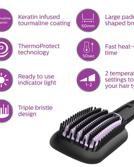 Philips Heated Straightening Brush (BHH880-10)