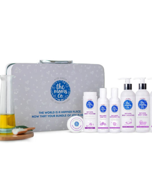 The Moms Co. Everything For Baby Suitcase Gift Box - All natural Skin and Hair Care Baby Products 800ml 125g